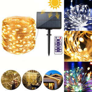 12M Remote Control LED Solar String Light 8 Modes IP65 Waterproof Holiday Decor
