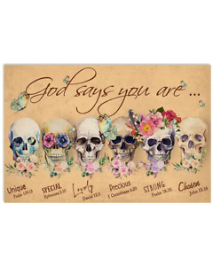 Floral Skull God Says You Are Unique Special Home Wall Decor Poster No Frame
