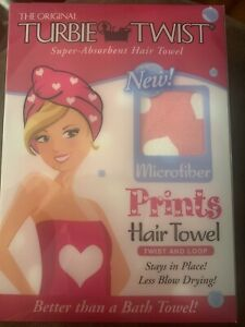The Original Turbie Twist Super Absorbent Hair Towel Pink With Hearts Print