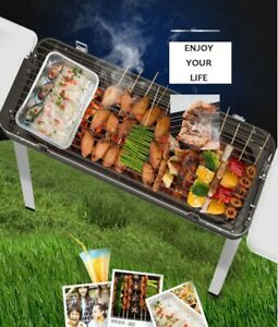 Outdoor Charcoal Barbecue Portable Smokeless Pan Grill BBQ Stove Barbecue Shelf