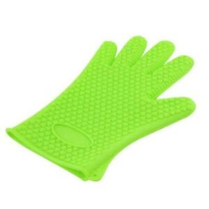 Kitchen Silicone Heat Resistant Gloves Oven Grill Pot Holder Cooking Mitt Green