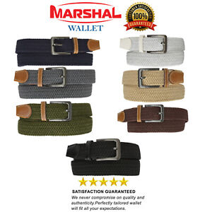 Marshal Braided Elastic Stretch Belts with Gunmetal Buckle S110 $8.99