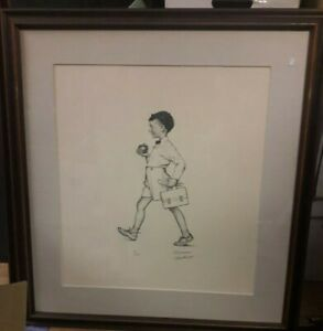 Norman Rockwell Framed Pencil Signed Lithograph School Boy American Family #68 $700.00
