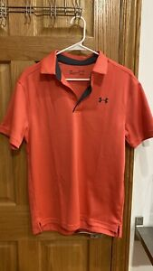 UNDER ARMOUR GOLF SHIRT SIZE SMALL PINK RED STRIPE STRETCH HEAT GEAR SEE DESCR $21.00