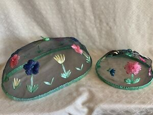 2 Food Covers Domes Picnic Screens Bee Flowers Wire Fly Screen Colorful