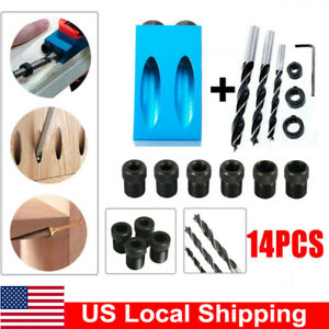Pocket Hole Jig Kit 6/8/10mm 15° Angle Aluminum Adapter for Woodworking Guide US