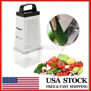 4 Sided Stainless Steel Manual Vegetable Cheese Grater Box w/ Container Tray Box