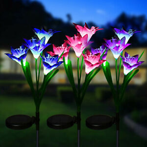 3-pack Solar Lily Flowers Garden Lights LED Outdoor Yard Decor Lamp Multi-Color