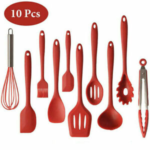 Silicone Kitchen Utensils Set of 10 Heat Resistant Non Stick Cooking Tools