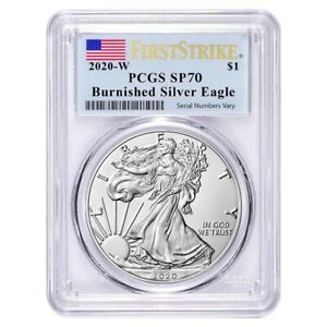 2020-W 1 oz Burnished Silver American Eagle PCGS SP 70 First Strike $83.99