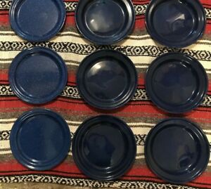 Lot of 9 Blue Speckled Enamel Camping Plates 10