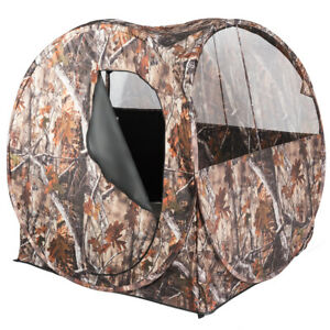 Portable Hunting Blind Waterproof Pop Up Outdoor Use Ground Blind w Mesh Windows