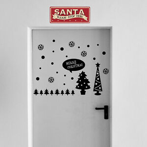 Vinyl Wall Art Decal - Merry Christmas Trees and Snowflakes - 23* x 31* - Modern
