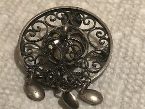 Vintage Norwegian 830 Silver dangle Pin Brooch Signed wedding