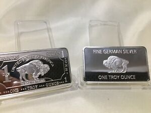 1 OZ German Silver Buffalo Art Bar