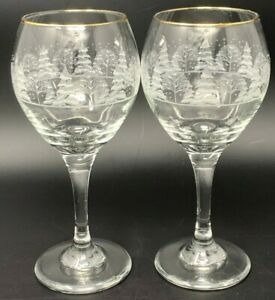 2 VTG Arby#x27;s Christmas Wine Goblets Winter White Frosted Gold Rim Libbey Glasses