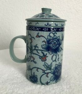 """Porcelain Tea Cup/Mug with Infuser and Lid Tall 5 1/2"""" Blue Flowers"""