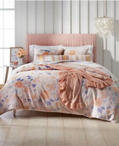 MARTHA STEWART WHIM EXPOSED FLORAL PINK REVERSIBLE 3PC COMFORTER SET QUEEN $200