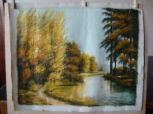 Vintage Original Taiwanese Oil Painting Autumnal Forest River