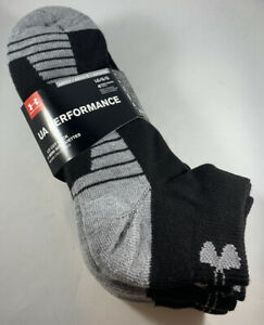 UNDER ARMOUR Black Gray UA Performance ADULT LARGE Lo Cut Sock 4 PAIRS $14.79