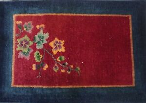 Antique Art Deco Chinese Hand Knotted Wool Oriental Rug  2' x 3'  Hand Washed