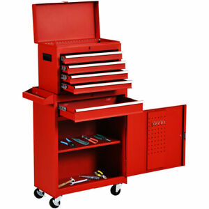 Functional Tool Chest amp; Cabinet with 5 Drawers Rolling Garage Tool Organizer Red