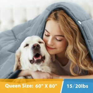 15 20Ibs Weighted Blanket 60x80#x27; Reduce Stress Promote Deep Sleep Glass Beads