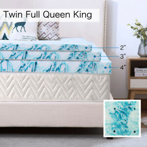 2, 3, 4 inch Soft Plush Blue Swirl Lavender Mattress Topper Gel Memory Foam Bed