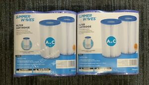 NEW Summer Waves 4-Pack Pool Filter Cartridge Type A or C Intex -- SHIPS FAST!!