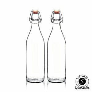Seacoast Clear Glass Bottle with Swing Top Stopper 33.75 Oz Round Pack of 2 $13.01
