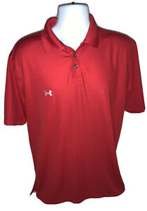 Under Armour Men's Size M Performance Red Short Sleeve Polo Golf Shirt Green EUC $12.99