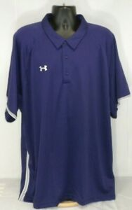 Under Armour Mens Polo Shirt 4XL Purple White S S Loose Fit Heat Gear Golf NWT $24.99