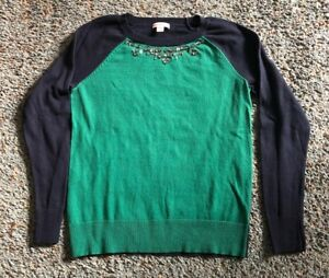 MERONA WOMENS Green and navy blue Pullover Sweater bead embellished neck SIZES P