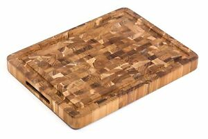 TeakHaus by Proteak End Grain Cutting/Serving Board w/Hand Grip + Juice Canal (R