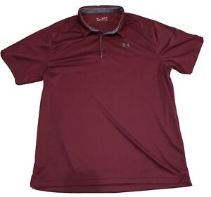 Men's Under Armour Golf Polo Shirt Size 3XL Maroon Gray $10.52