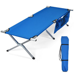 Folding Camping Cot Heavy duty Camp Bed W Carry Bag for Traveling Vocation Beach