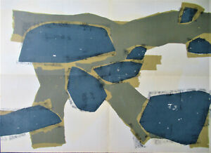UBAC - GREAT ABSTRACTION  - ORIGINAL GIANT LITHOGRAPH - 1955 - FREE SHIP  US !!! $85.50