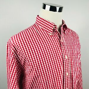 Brooks Brothers Mens Large Sport Shirt Red White Checker Cotton Button Down $19.95