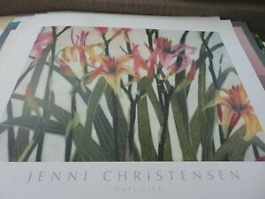 Vintage 1990 Day Lilies Jenn Christensen Lithograph Huge Print Beautiful Colors $39.99