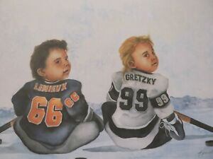 Vintage Kenneth Gatewood Ice Play Lithograph Gretzky & Lemieux $39.99