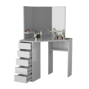 Victoria Corner Vanity Table White Makeup Desk with 3 Mirrors and 5 Drawers