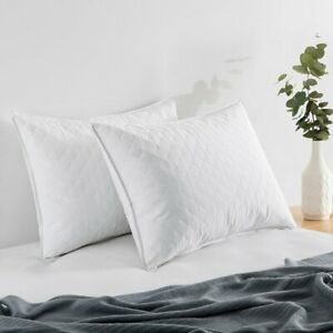 Qulited Bed Pillows Goose Down Feather Wave Quilting Design Set of 2