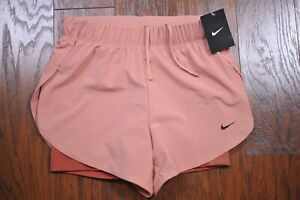 NWT Nike Dri Fit Flex 2 in 1 Lined Shorts Dusty Rose Women's Small S $12.50
