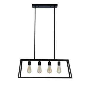 Industrial Open Rectangle Frame Ceiling Chandelier Pendant With 4 LED Light Bulb
