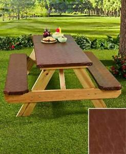 Picnic Table Covers 3 Pc Set - Elastic Fitted Outdoor Table & Bench Seat