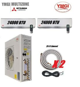 YMGI 48000 BTU 24K24K 21 Seer Ductless Mini Split Air Conditioner Heat Pump KJ2