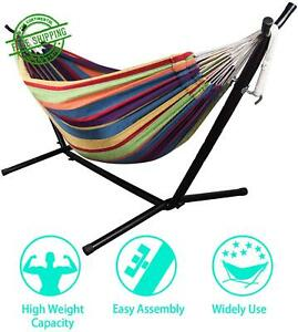Hammock For Two 2 Person Double  With Stand Heavy Duty Portable Combo For Indoor