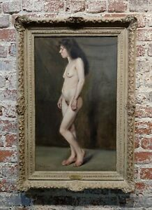 John Bond Francisco Nude Portrait of a19th century Peasant Woman Oil painting $3800.00