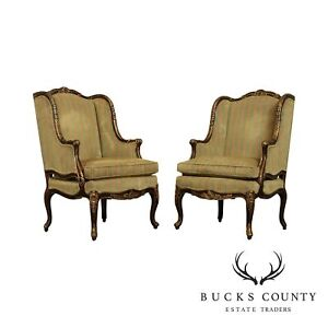 Randall Jy Singer For EJ Victor French Louis XV Style Pair Bergere Chairs $3895.00