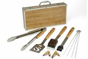 Bamboo Tool Set Grill Tools Spatula Basting Brush Cleaning Tongs Stainless Corn